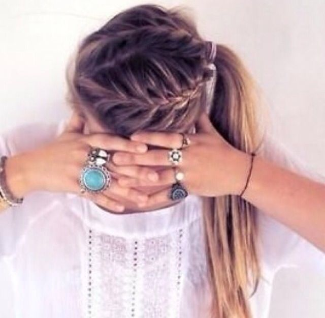 Middle parted double french braid