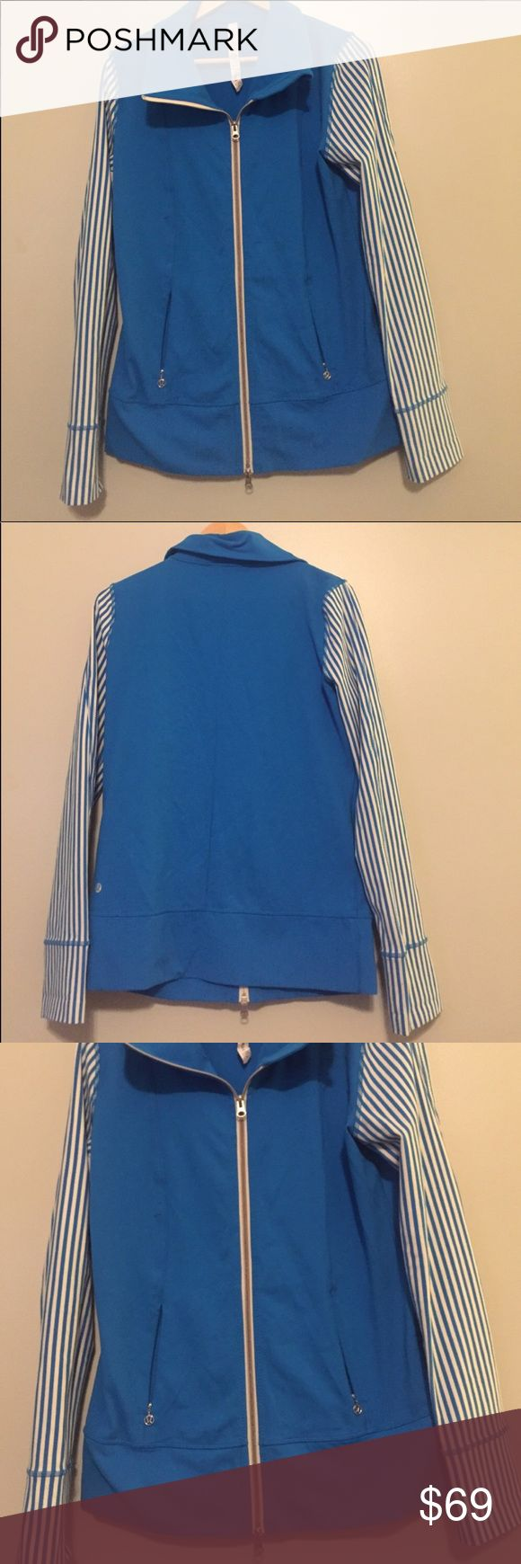 Lululemon Zip Up Jacket  size 10 Lululemon Zip Up Jacket  size 10-blue with blue and white stripes on sleeve-pit to pit is approx 18 inches flat, shoulder to hem is approx 28 inches lululemon athletica Jackets & Coats