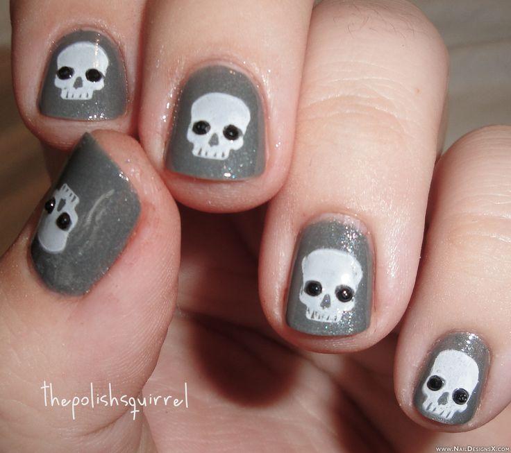 Best 25 skull nails ideas on pinterest art of glow skull nail halloween nail design nail designs nail art prinsesfo Images