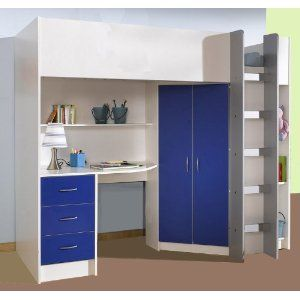 HIGH SLEEPER CALDER WHITE/BLUE HIGH BED M227WB: Amazon.co.uk: Kitchen & Home