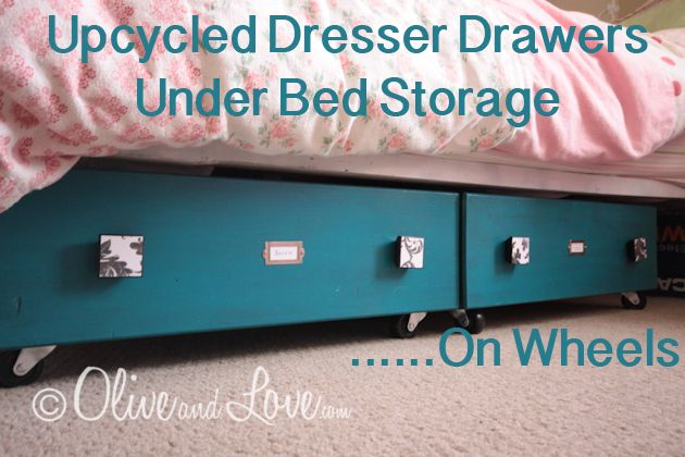 Upcycled Dresser Drawers from OliveandLove.comIdeas, Upcycling Dressers, Dressers Drawers, Old Dressers, Under Bed Storage, Dresser Drawers, Upcycling Drawers, Beds Storage, Diy