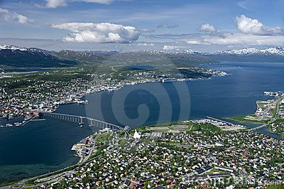 Aerial view of city of Tromso, Troms county, Norway.