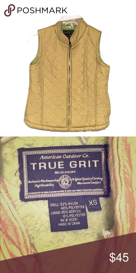 True Grit  Green Quilted Vest with detachable hood This is a vest that has a detachable hood rimmed in Faux Fur. It has been relived but is still a fantastic piece! It's a spring/olive green that has a sheen to it. It  is from a smoke free home. True Grit Jackets & Coats Vests