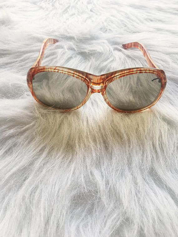 Vintage 70s sunglasses / brown + clear frame oversized sunglasses ...