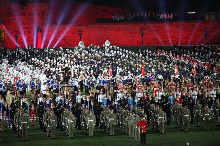 The full cast of the Royal Edinburgh Military Tattoo in Melbourne February 2016