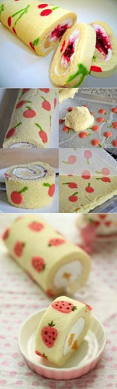 Delectable and beautiful jellyroll cake.