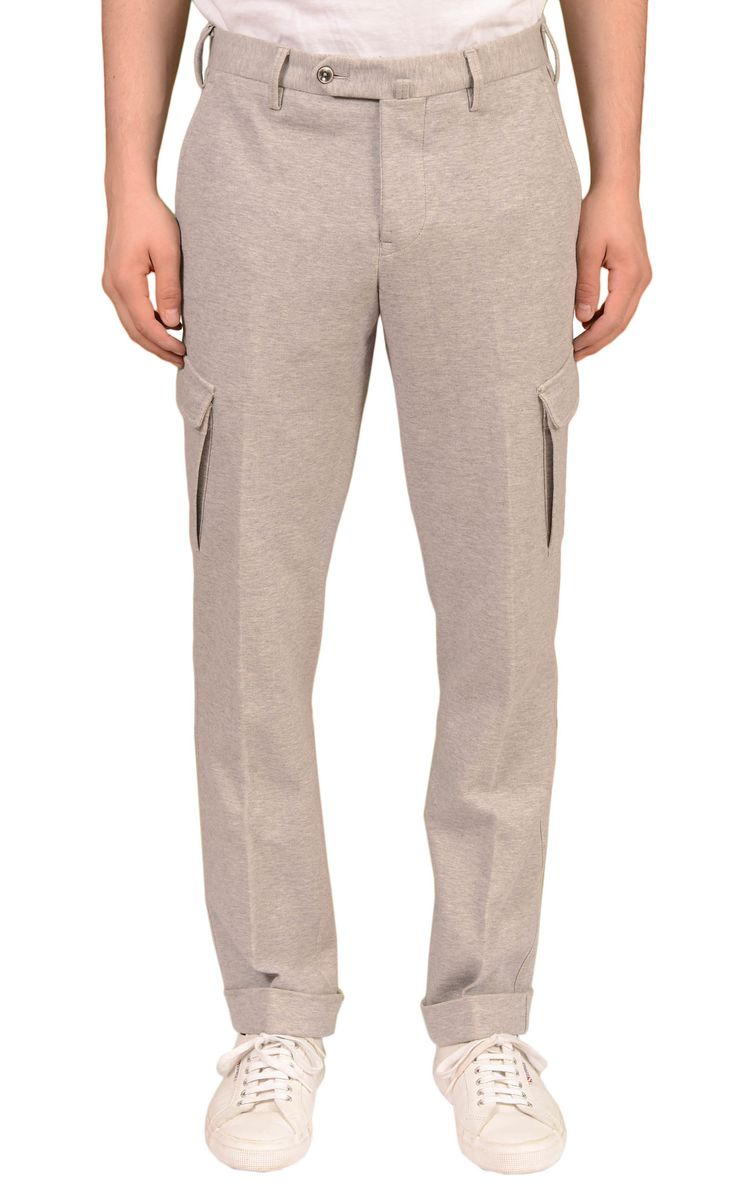 PT01 PANTALONI TORINO Heather Gray Cotton Slim Fit Cargo Sweat Pants 50 34