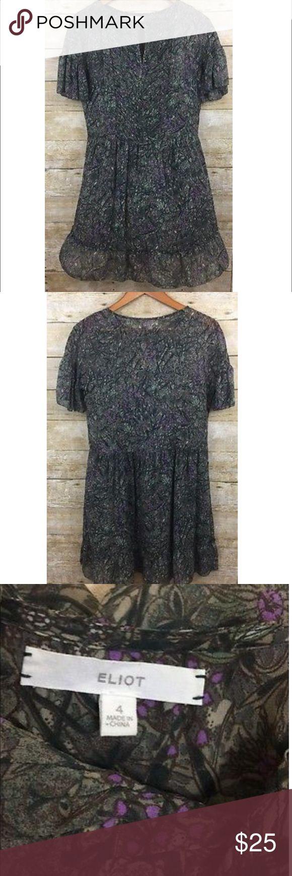 "Madewell Eliot Chiffon Floral Silk Boho Dress Eliot  Chiffon Dress Womens 4   100% Silk   Armpit to Armpit - 18.5"" Sleeve Length - 5"" Shirt Length - 32.5"" Madewell Dresses"
