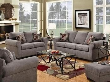 Gray sofa--I think this will look great when I get my walls painted a neutral yellow!