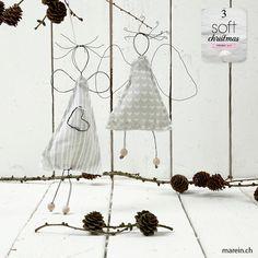 Blumendraht-Engel // Ein Weihnachtsengel, aus Blumendraht gebogen und mit einem einfachen Kleid angezogen, das mit Heftstichen genäht und mit Füllmaterial für Puppen ausgestopft wurde. http://www.marein.ch/basteln/6792/blumendraht-engel/