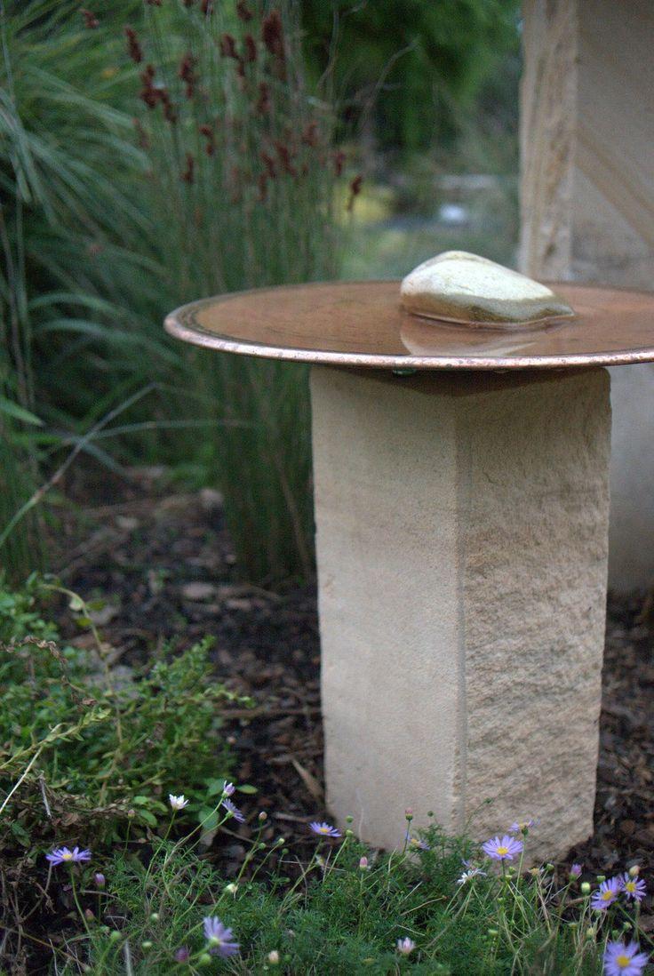 'The Mini' - Spun Copper Birdbath and Sandstone plinth by Mallee Design