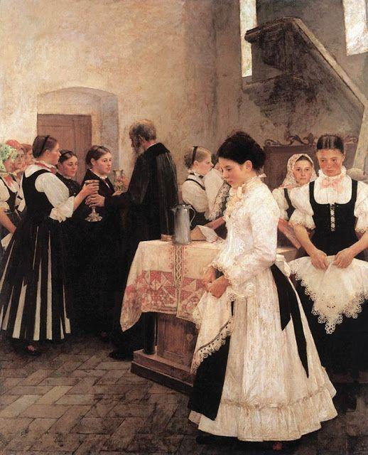 Holy Communion, 1890 - István Csók (1865-1961) Hungarian Impressionist artist
