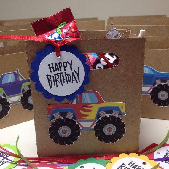 A solo 6 monstruo camión cumpleaños bolsa/caja por JustScrapHappy