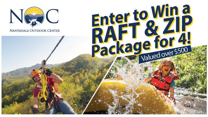Enter to win a four-person Nantahala River Rafting and Montaintop Zip Line Tour package for 4! Enter by 6/20. Package valued at $520.