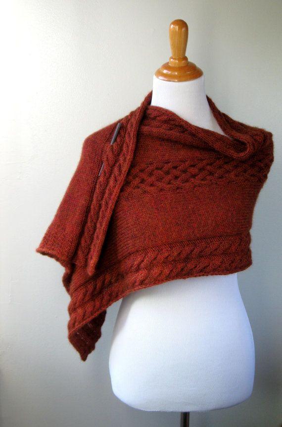 Hand Knit Shawl / Wrap Autumn Rust