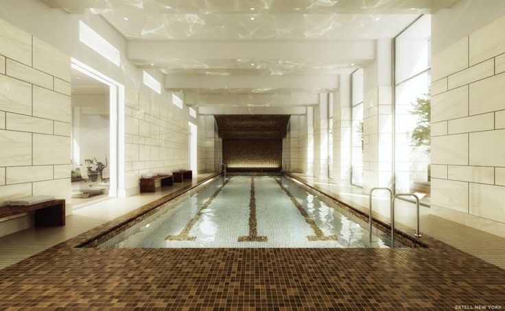 Marvelous indoor pools with brown floor ceramics and white wall