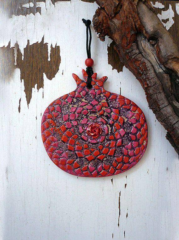 Aardewerk granaatappel muur opknoping handgemaakte keramische