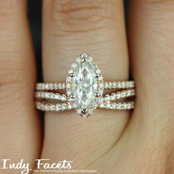 Do you like the criss-cross band on this beautiful Marquise Cut Diamond Engagement ring? #IndyFacets #CustomJewelry #EngagementRing…