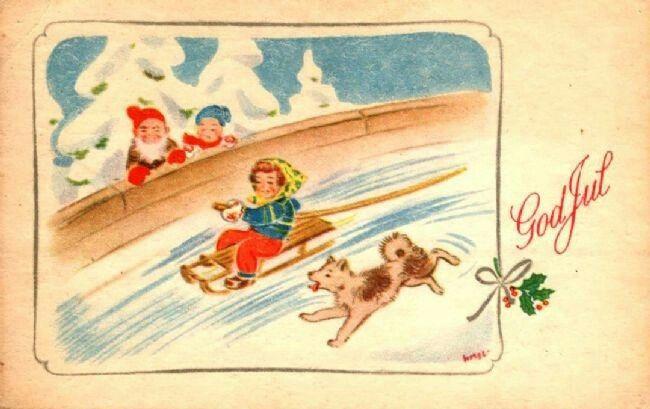 Julekort George Schumann Mittet & Co brukt 1950