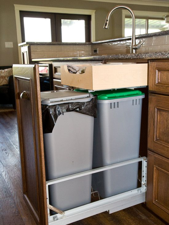 Drawer Above The Trashcans, Great Storage Idea.