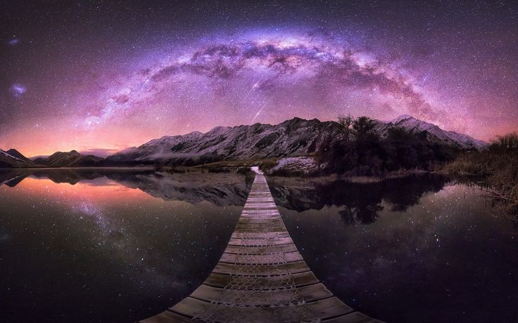 General 1920x1200 nature landscape New Zealand lake mountains Milky Way long exposure walkway starry night reflection shrubs