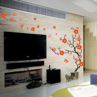 Дерево стикер стены сливы дерево цветок стены настенной росписи гостиной телевизор фоне проект станции декор стен спальня украшения дома