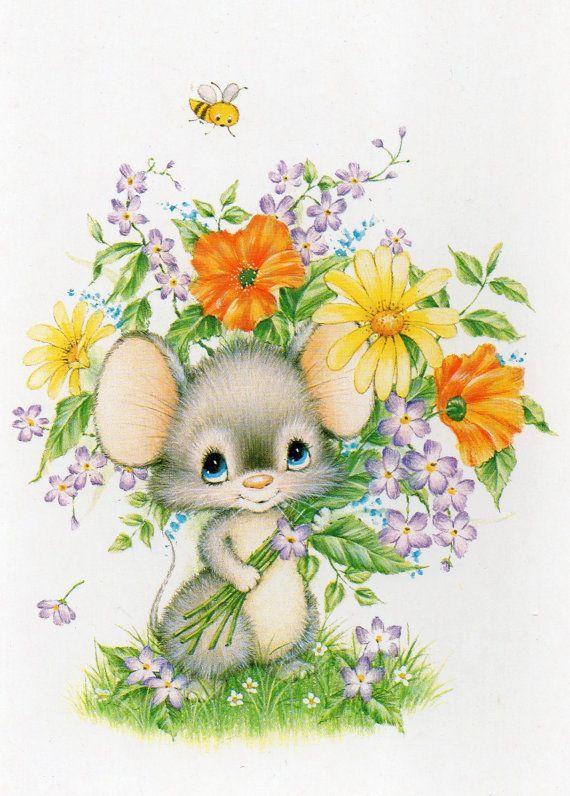 Vintage Postcard Cute little mouse