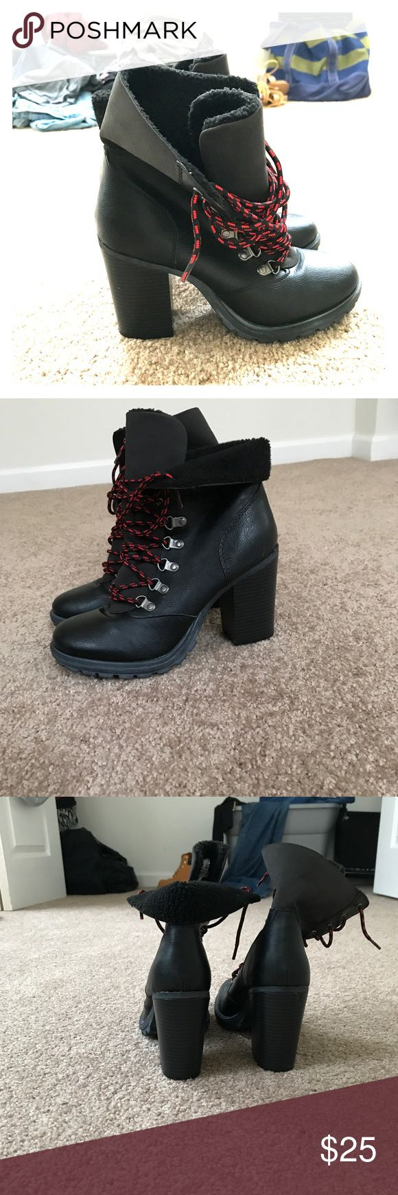 Shoe Dazzle Leather Black Booties Worn once in new condition, no marks or scuffs. Very stylish come from smoke and pet free home. Shoe Dazzle Shoes Ankle Boots & Booties
