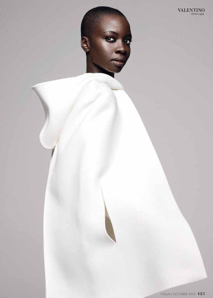 Danai Gurira, Instyle Magazine October 2013 (white cape by Valentino)