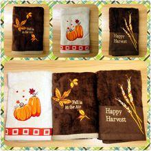 40 x 62 см тыквы ухо риса кленовые листья вышитые полотенца счастливый праздник урожая полотенца поглощение воды и мягкий 3 шт./лот(China (Mainland))