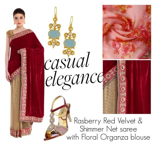 """Rasberry Red Velvet Saree"" by maisach on Polyvore featuring maisach"
