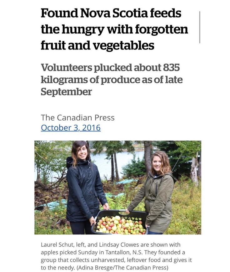 """@foundforgottenfood from @cbcns  Volunteers spent this weekend trudging along coastal areas of St. Margarets Bay picking apples that would have gone to waste bringing them to the needy instead. . They are part of the Found Nova Scotia movement a growing """"eco-conscious"""" enterprise that gleans leftover fruits & vegetables fr crops farmers' markets / home gardens & donates most of their bounty to food banks and shelters. . Laurel Schut  Lindsay Clowes launched the initiative this spring after…"""
