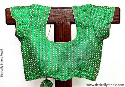 Embroidered Green Blouse – Desically Ethnic
