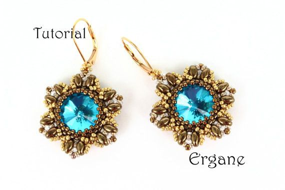 Pretty earrings with 14mm rivoli in shape of flowers. These earrings will look great in any color combination.  This tutorial is for beginner Beaders. The tutorial contains 13 fully illustrated (with graphs) steps from start to finish with complete explanation.  #flower #beading #beadingtutorials #beadingpattern #earings #swarovski #flowerearrings #rivoli #superduo