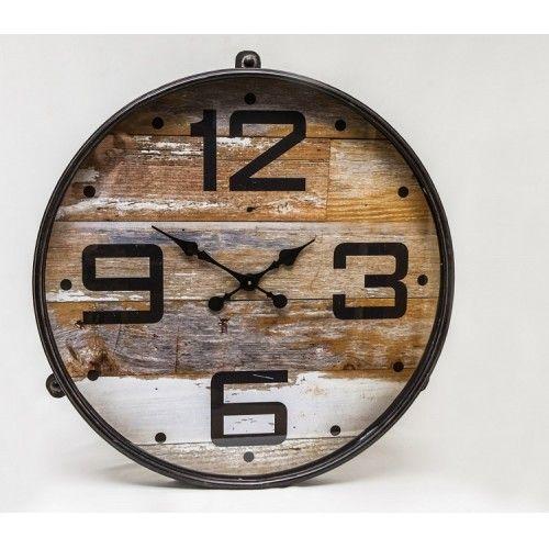 Wandklok rond metaal 77x8x81cm hout look - Woondecoratie