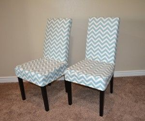 Capital E easy parson chair slipcover tutorial with chevron fabric!!! Two chairs for 10 bucks. Seriously!