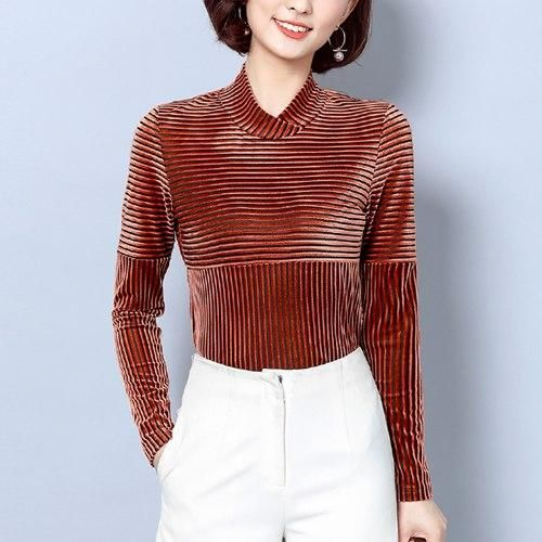2018 Autumn Winter Women Blouse Red Slim Office Ladies Velvet Blouse Striped Shirt Women Plus Size Top Chemise Femme brown M 1