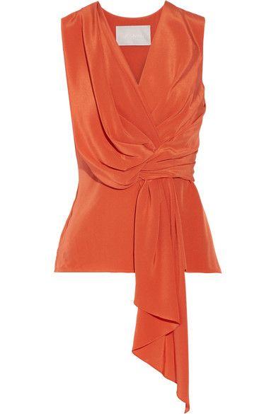 Jason Wu | Draped silk crepe de chine top | front view | NET-A-PORTER.COM