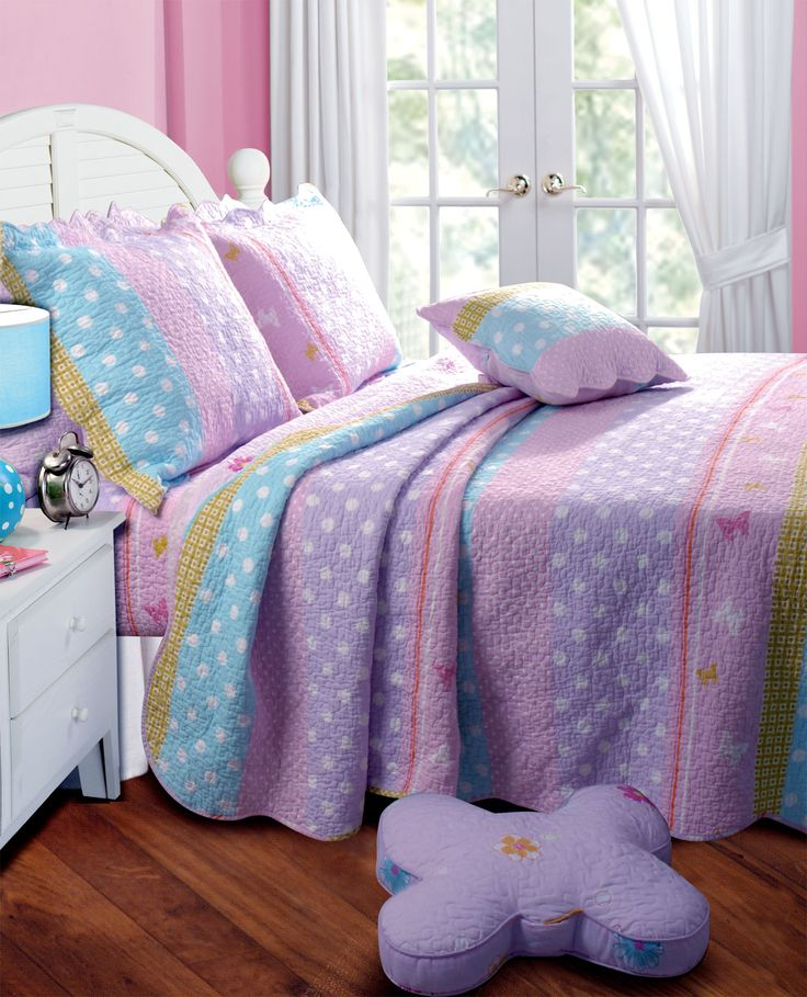 Polka dots stripe bedding set for little girls and teens