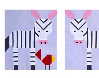 Zebra Quilt Pattern, PDF, instant download, modern patchwork, Solids, animal, black, grey, white, pink