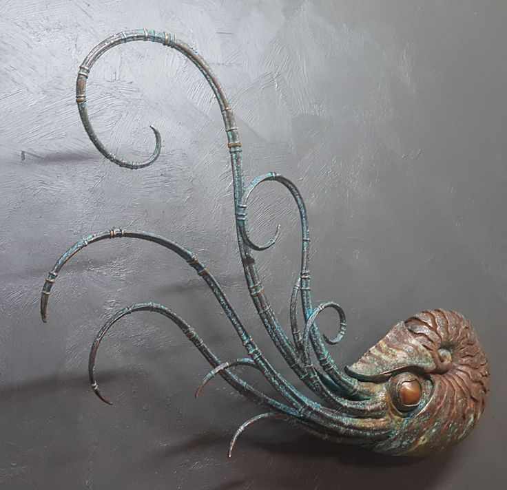 Copper plated nautilus sculpture