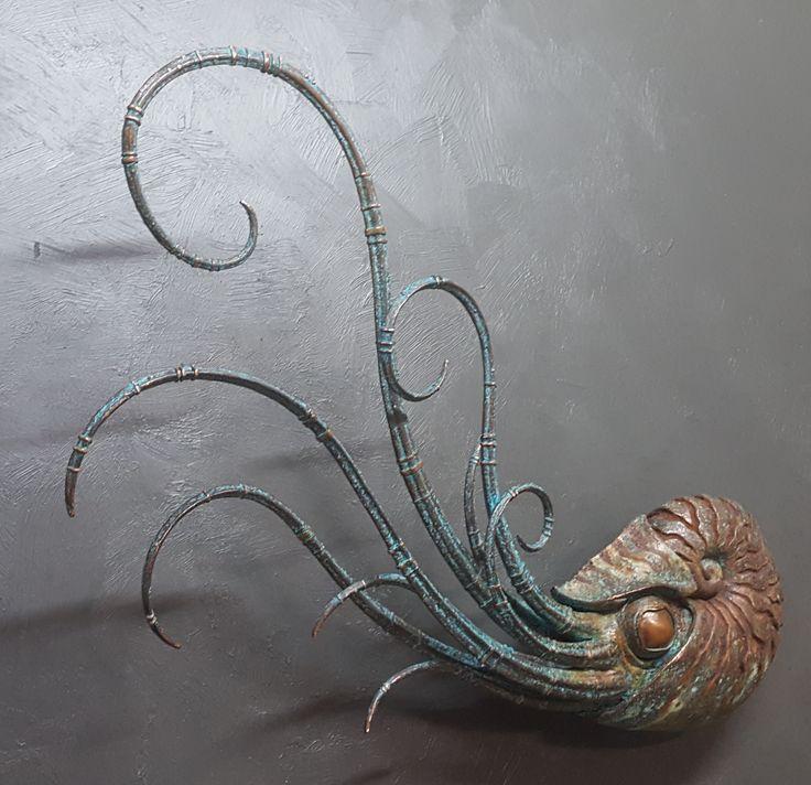 Copper plated nautilus sculpture