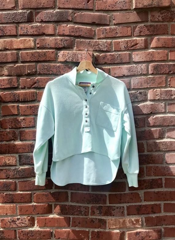 80s Vintage Cropped Polo Mint Green Womens Petite Medium