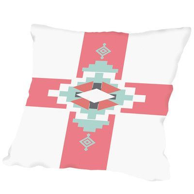 Americanflat Coral Mint Southwestern Cross Outdoor Throw Pillow Size: