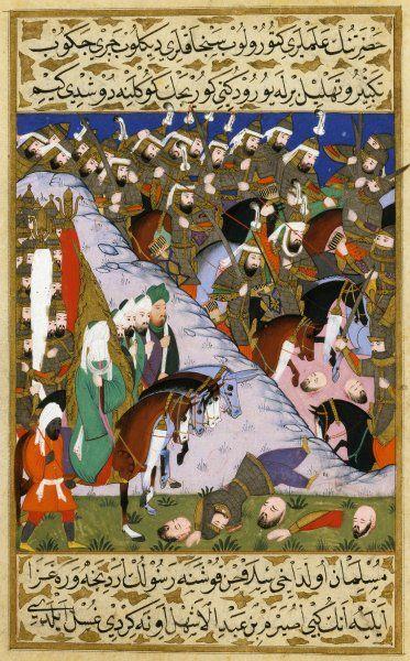 Prophet Mohammed als Feldherr in der Schlacht von Uhud. Diese Miniatur aus dem...