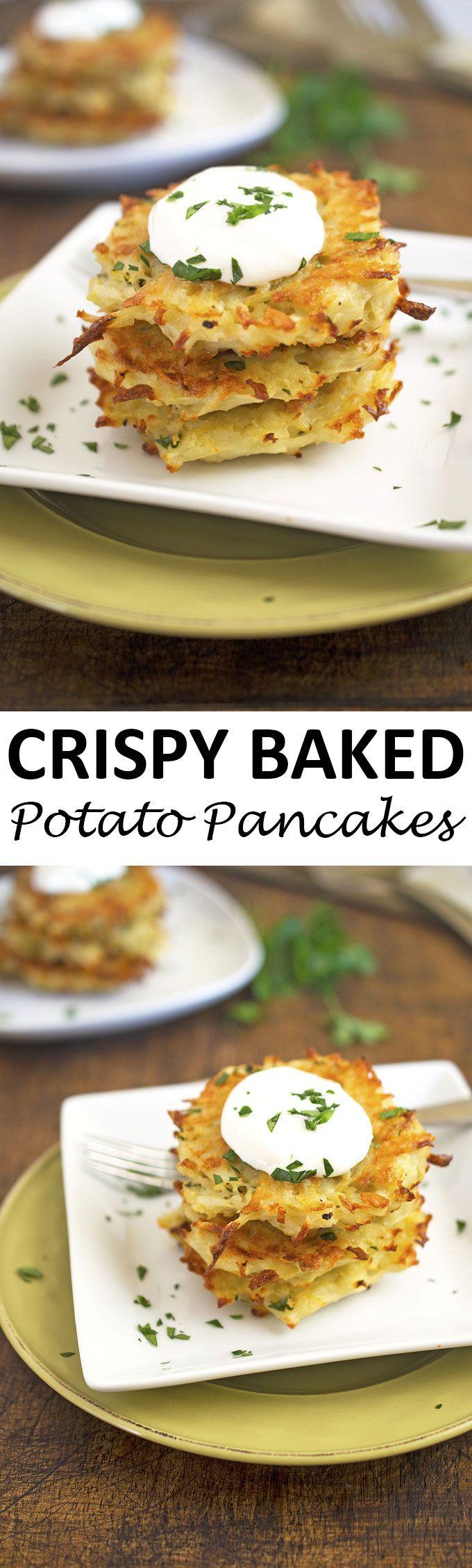 Crispy Baked Potato Pancakes stuffed with shredded potatoes, Parmesan cheese, onion, and garlic. A healthier alternative to fried potato pancakes or latkes. | chefsavvy.com #recipe #appetizer #baked #potatoes