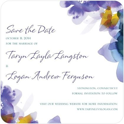 Signature White Textured Save the Date Cards Watercolor Garden - Front : Fuchsia