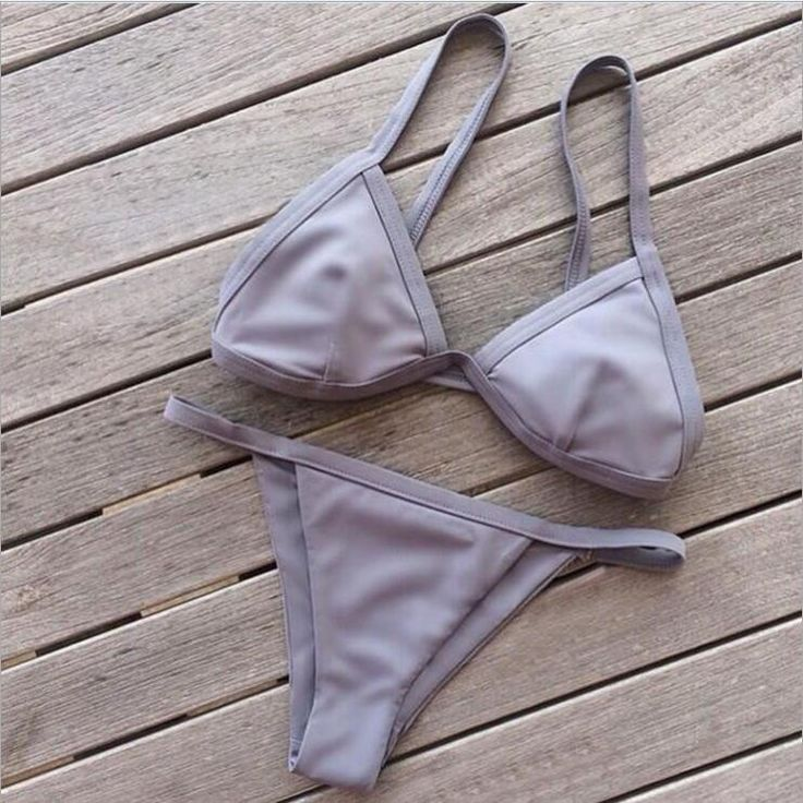 Solid Color Strap Thong Bikini Set Swimsuit Swimwear