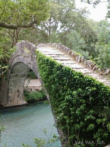 Old stone Konitsa Bridge, Vikos-Aoos National Park Zagori, northwestern Greece