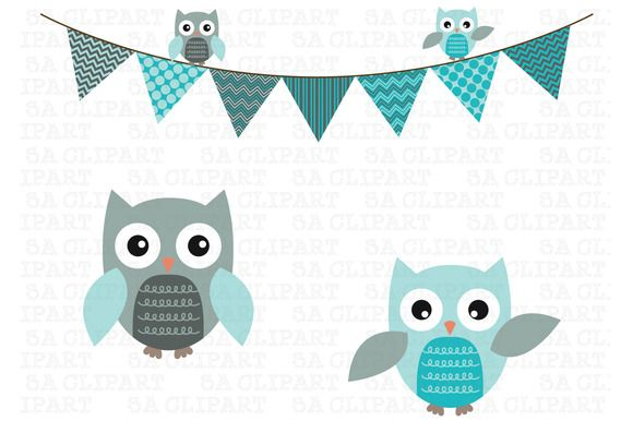 Bunting Owl Banner Clipart by SA ClipArt on @creativemarket